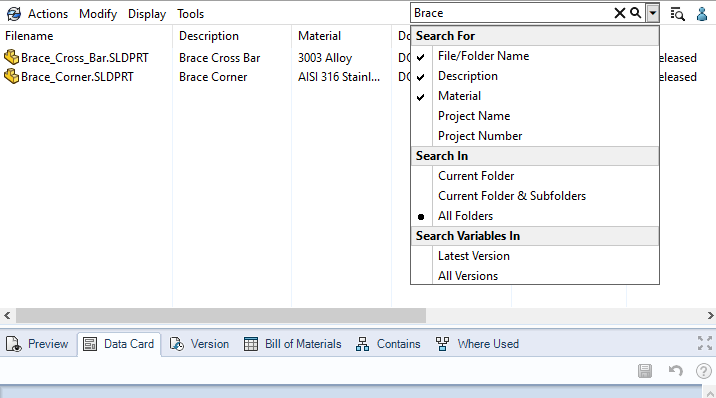 SOLIDWORKS PDM Quick Search - Searching within multiple variables