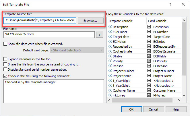 Edit Template File dialog