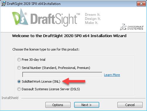 DraftSight Installation License Type