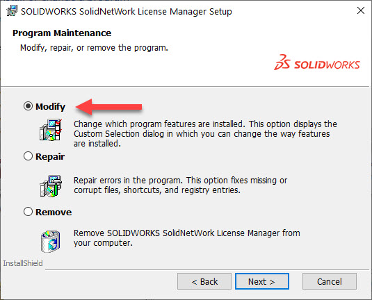 Modify SolidNetWork License Manager Installation