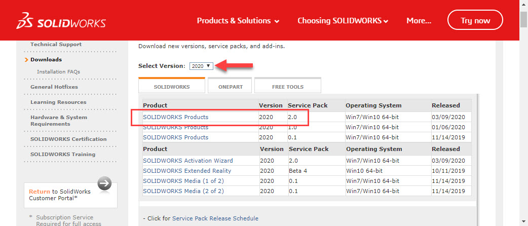 SOLIDWORKS Products - Choose latest version available