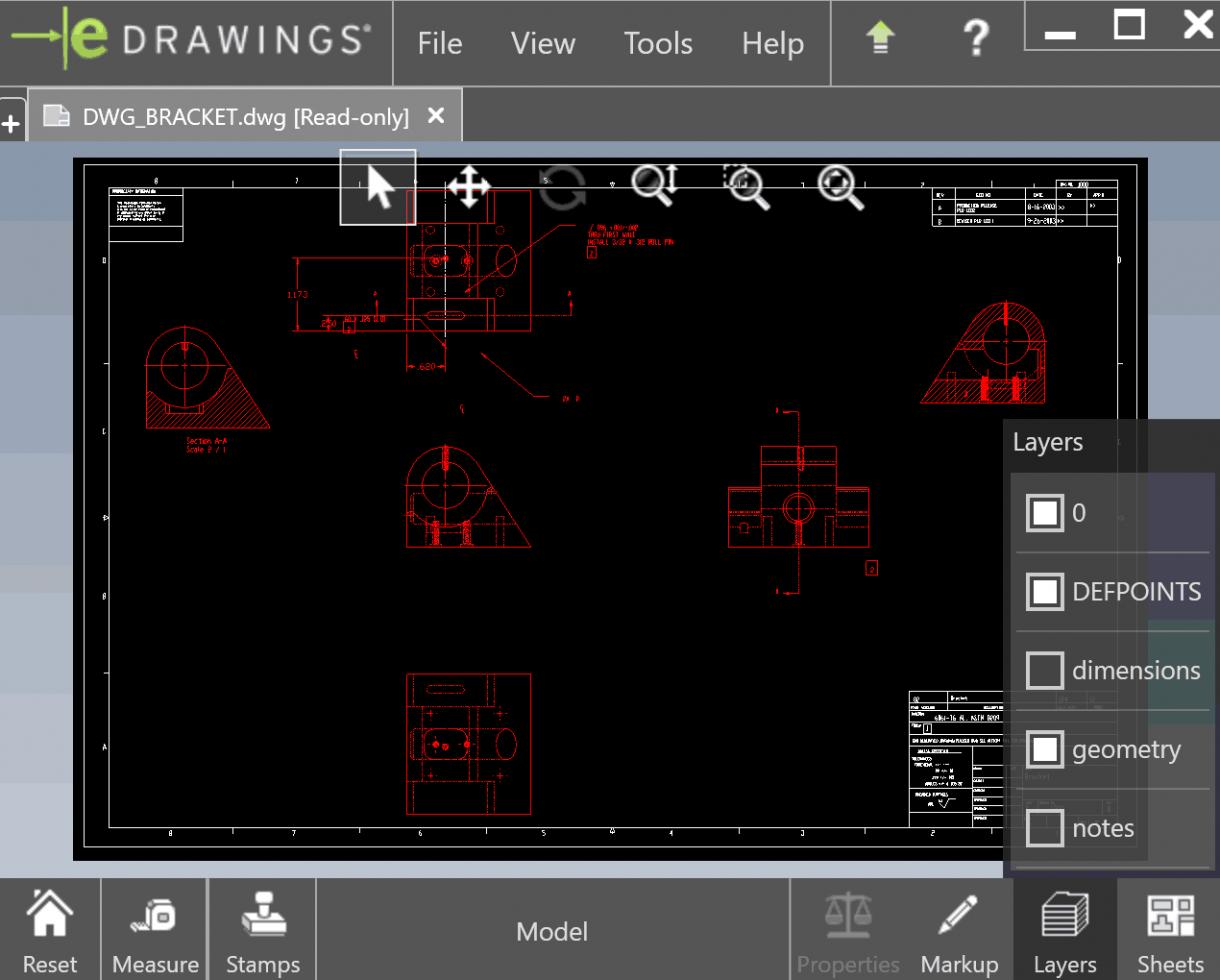 eDrawings DWG Layers