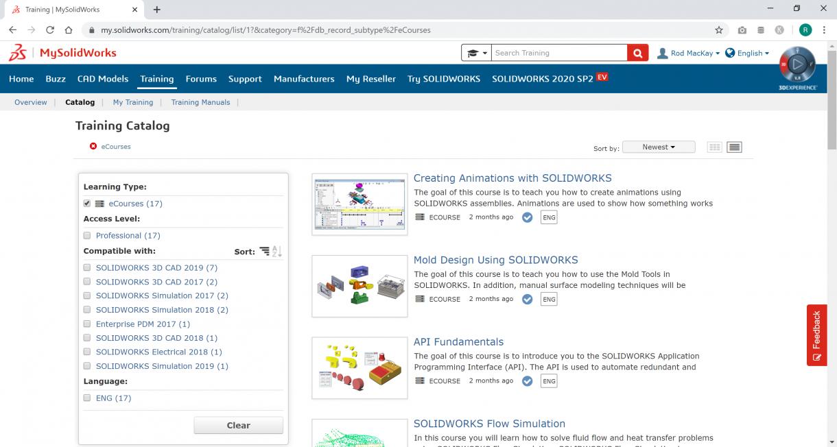 MySolidWorks eCourses