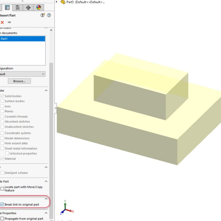 SOLIDWORKS Part Feature Tree