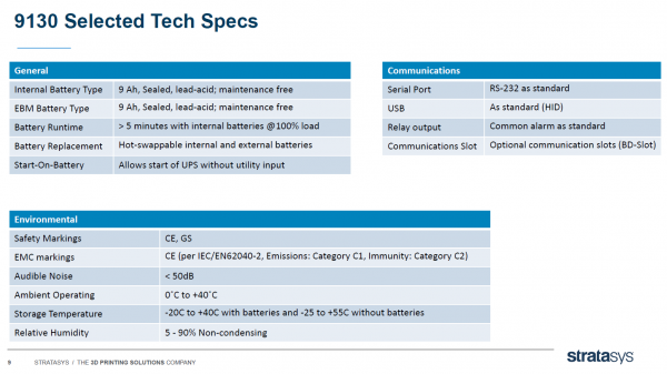 features and specifications of a typical UPS system