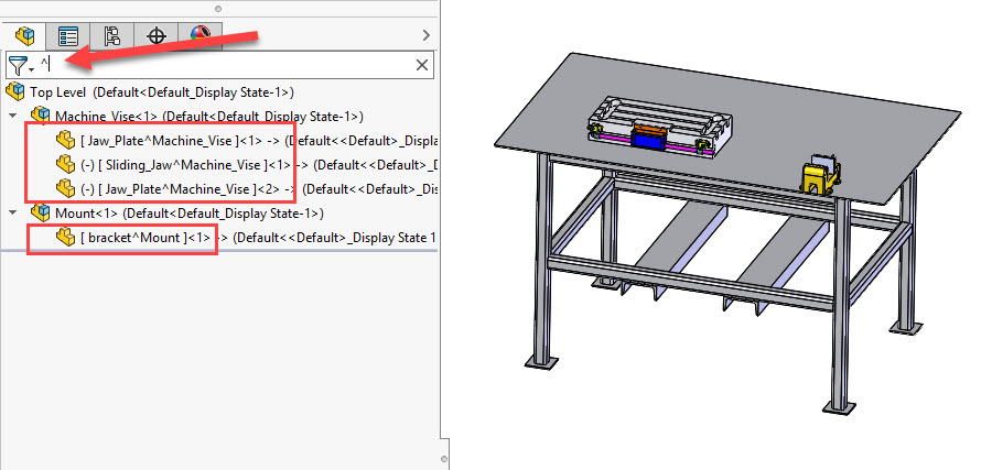 Filter SOLIDWORKS Virtual Components
