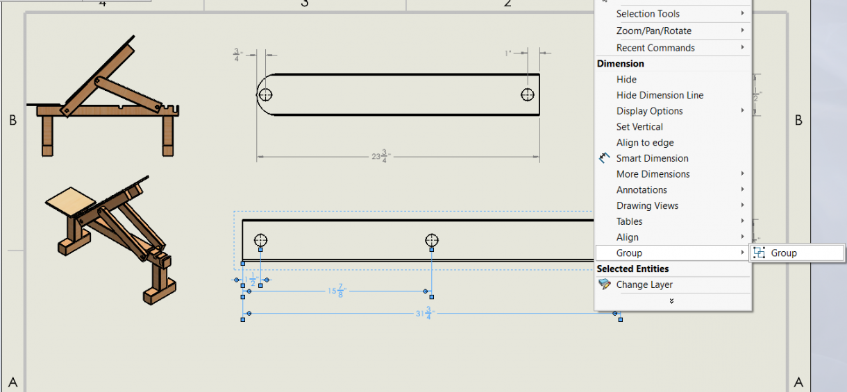 Group elements in SOLIDWORKS