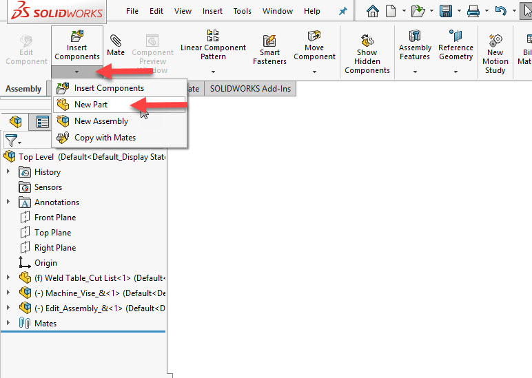 SOLIDWORKS Insert New Part in Assemblies