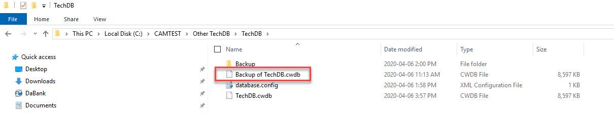back-up of the original TechDB