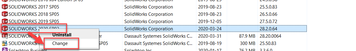 Changing the SolidWorks Installation from Control Panel
