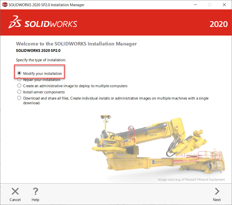 Modifying the Installation in Installation Manager