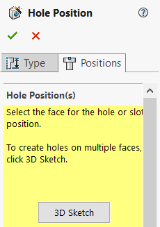 Hole position 3D Sketch