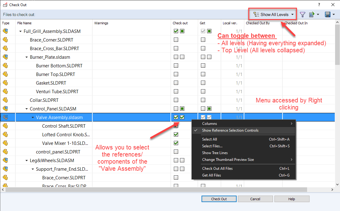 Check Out Dialog Box Commands