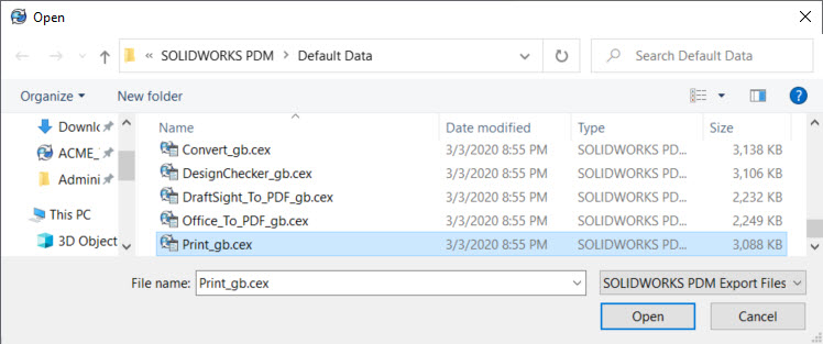 SOLIDWORKS PDM Print Task File to Import