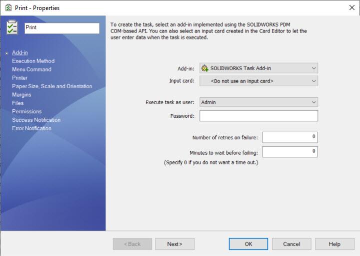 SOLIDWORKS PDM Print Task