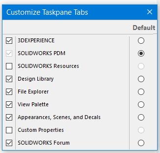 SOLIDWORKS Taskpane Tabs