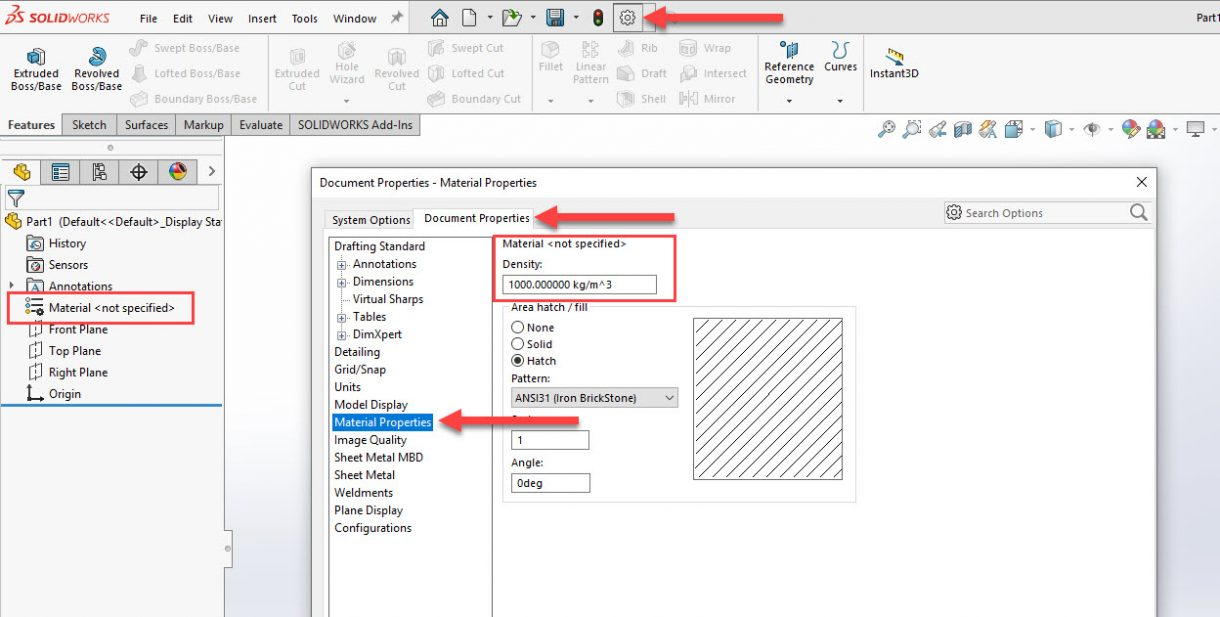 SOLIDWORKS Default Density Value with No Material Assigned