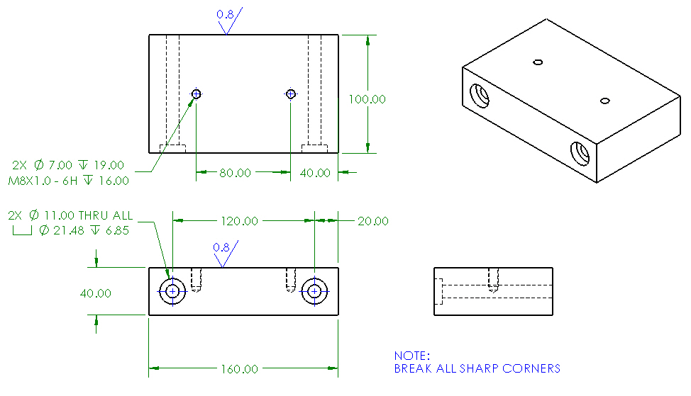 SOLIDWORKS Drawing with colour annotations