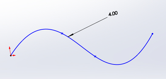Edit the dimension, and the spline changes length