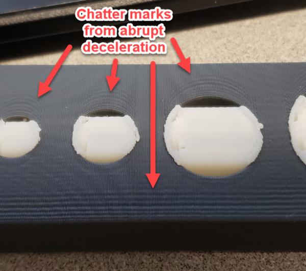 chatter marks from abrupt deceleration