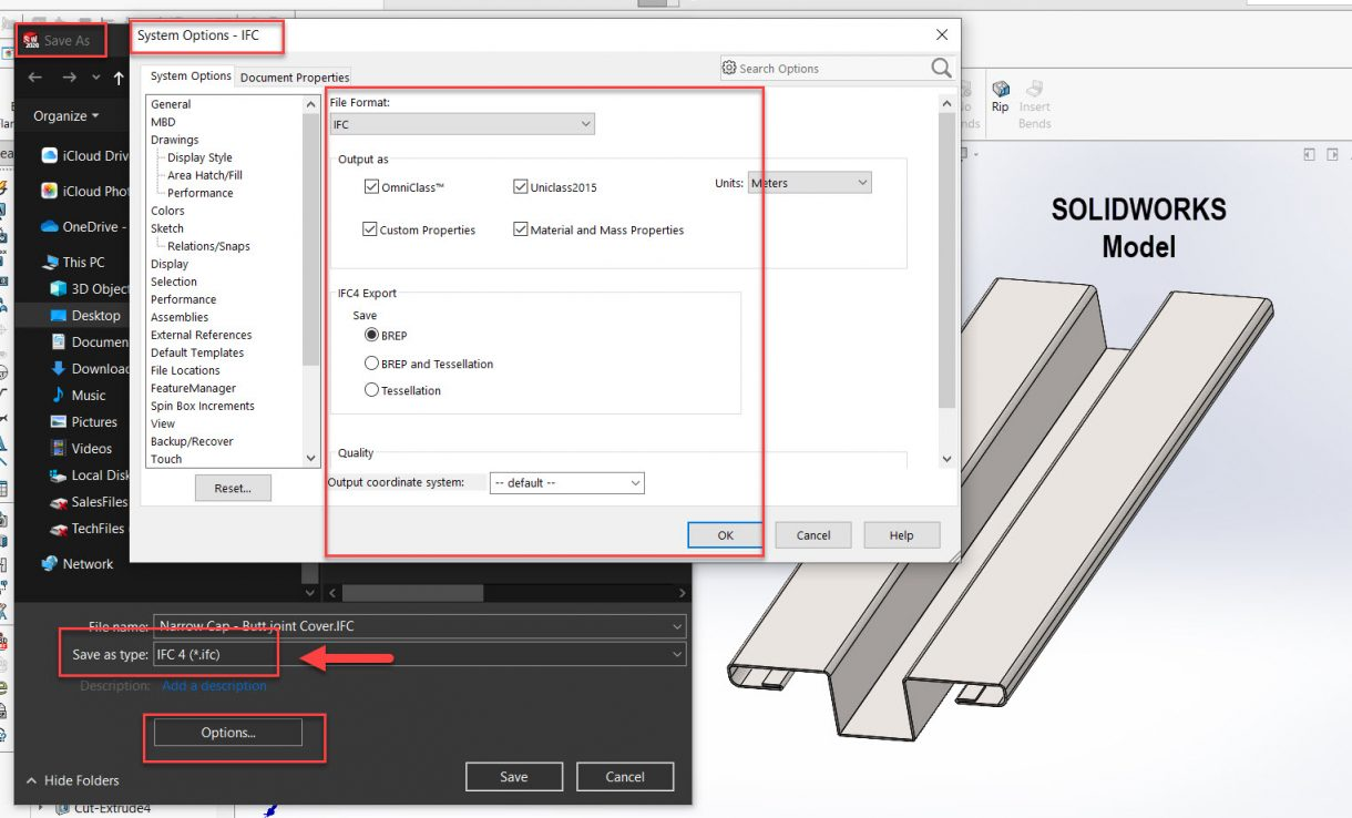 Export IFC file from SOLIDWORKS
