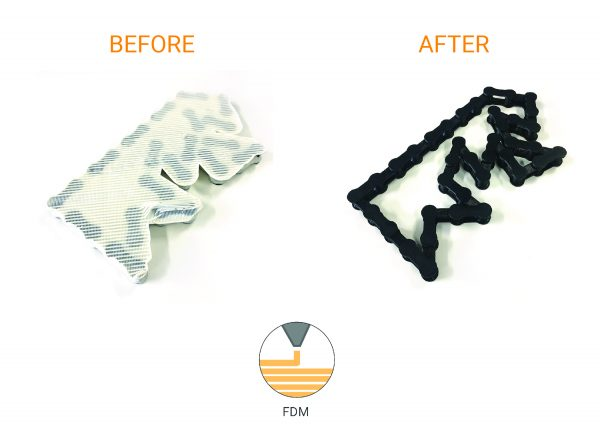 FDM 3D printed chain before and after post processing