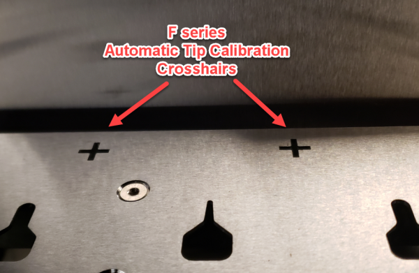 F series automatic tip calibration crosshairs