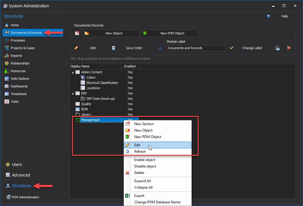 Edit ManageVault PDM Object