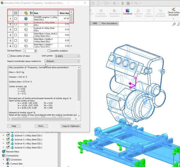 SOLIDWORKS Simulation Evaluated Mass