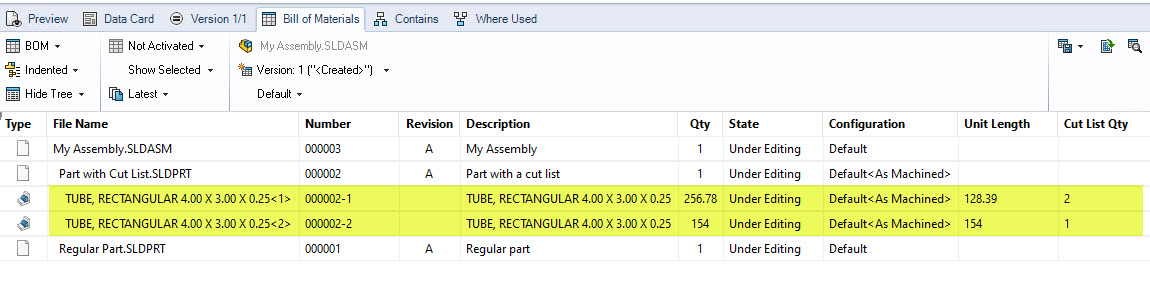 SOLIDWORKS PDM BOM with Cut List
