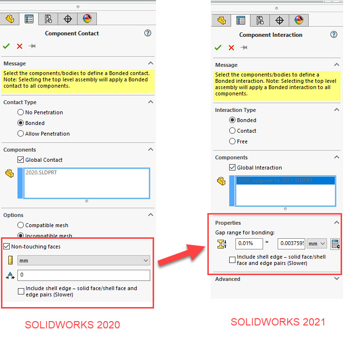 SOLIDWORKS Simulation 2021 Global Bonded Interaction