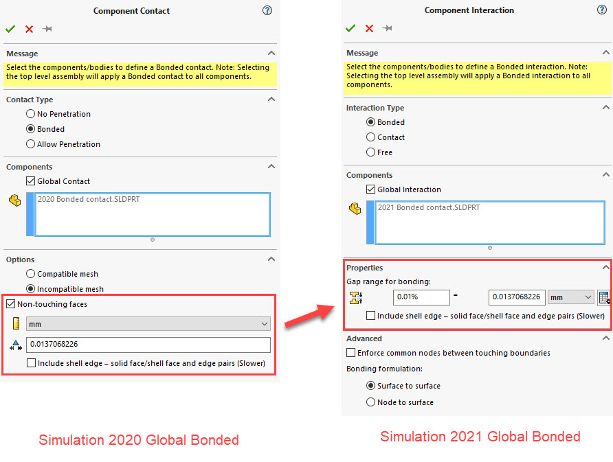 SOLIDWORKS Simulation Global Bonded