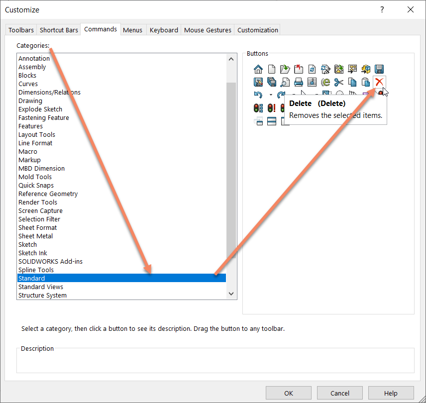 Searching for Delete Command in SOLIDWORKS 2020