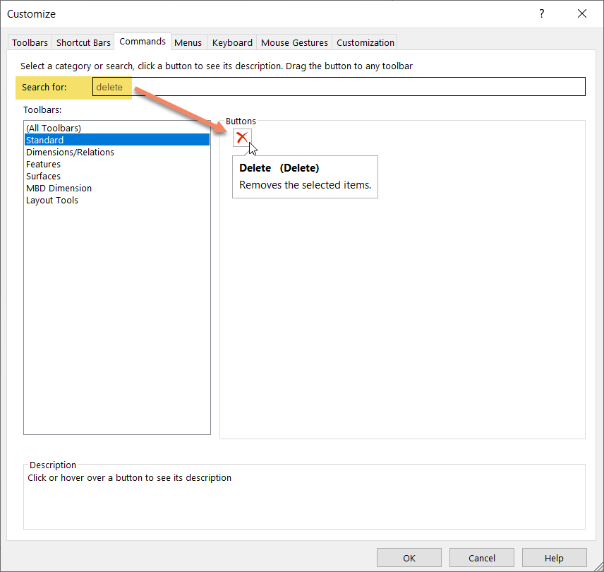 Searching for Delete Command in SOLIDWORKS 2021