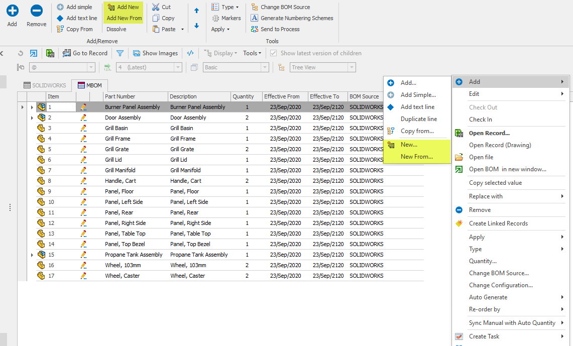 Add New and New From in SOLIDWORKS Manage