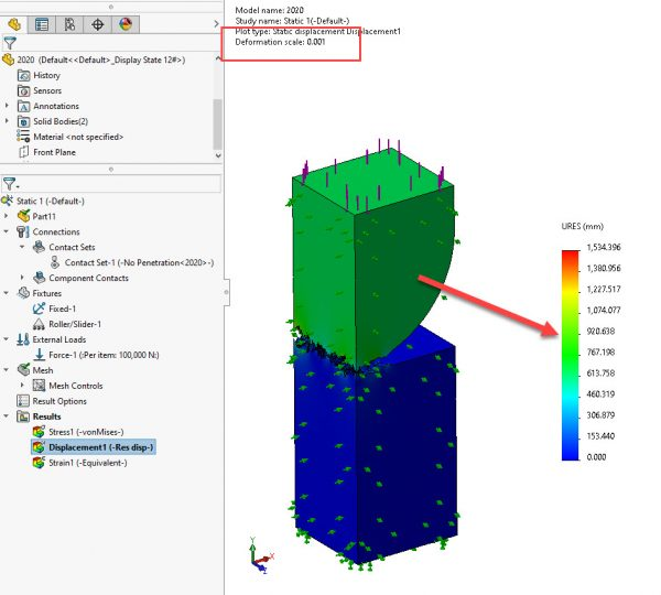 SOLIDWORKS Simulation 2020 Displacement Plot