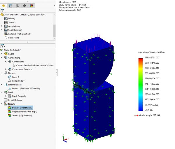 SOLIDWORKS Simulation 2020 Stress Plot