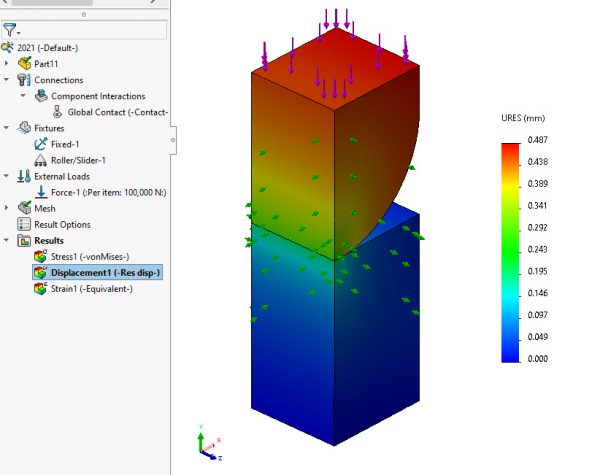 SOLIDWORKS Simulation 2021 Displacement Plot