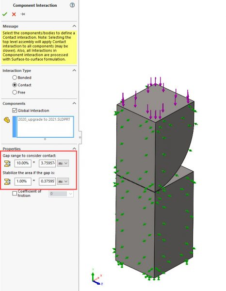SOLIDWORKS Simulation 2021 Global Interaction Gap Settings