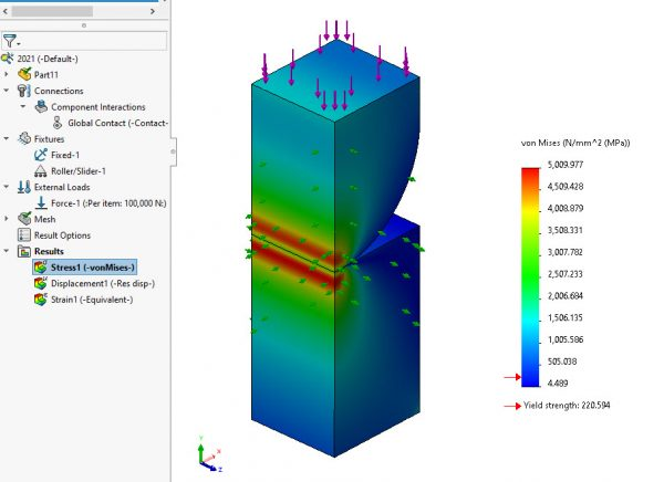 SOLIDWORKS Simulation 2021 Stress Plot