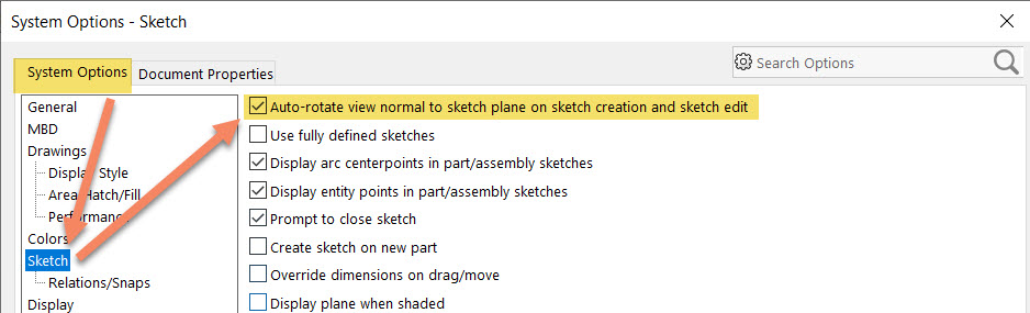 SOLIDWORKS Auto-rotate view normal to sketch plane on sketch creation and sketch edit
