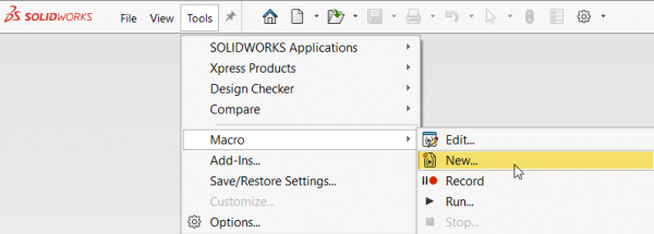 SOLIDWORKS Tools Open New Macro
