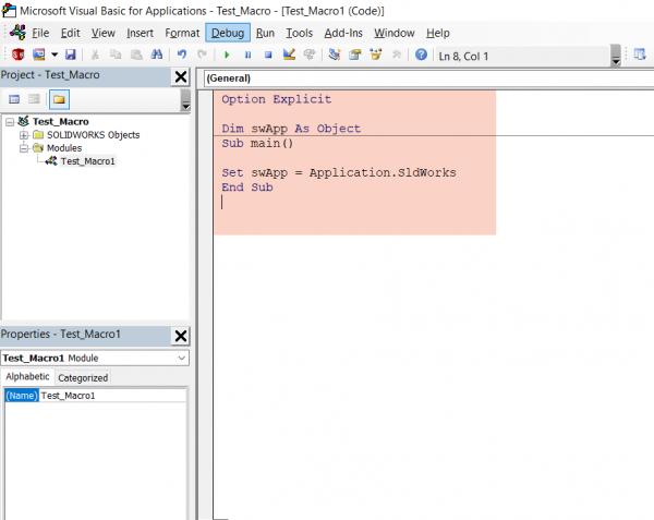SOLIDWORKS Macro API VBA Editor