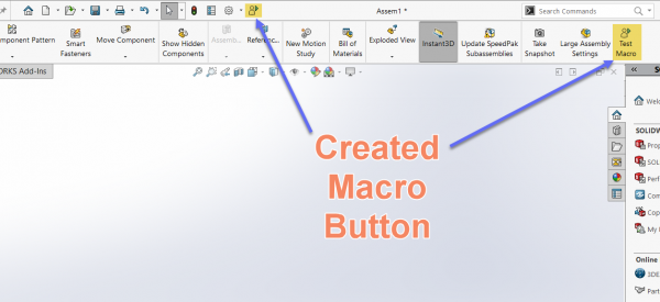 New Macro Button added to Toolbar