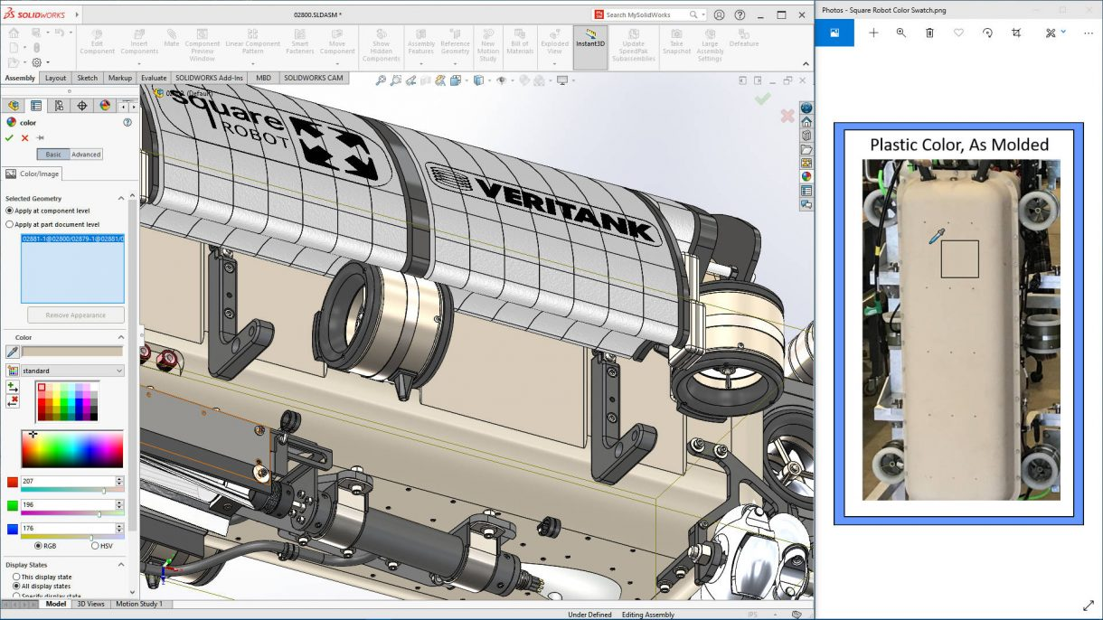 SOLIDWORKS 2021 Appearance from Swatch
