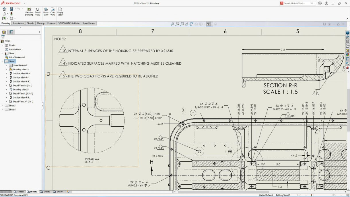 SOLIDWORKS 2021 Drawing detailing mode