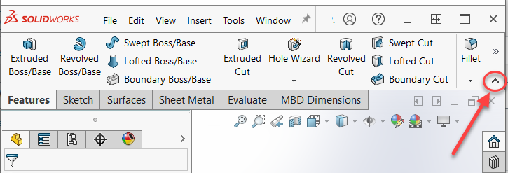 SOLIDWORKS 2021 Collapsible CommandManager