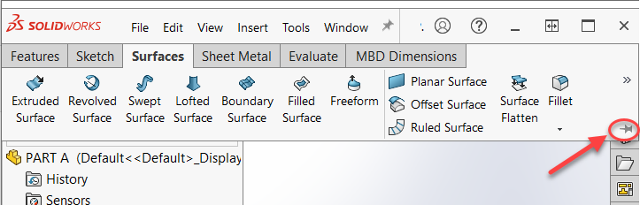 Pinning the SOLIDWORKS 2021 CommandManager to keep it expanded