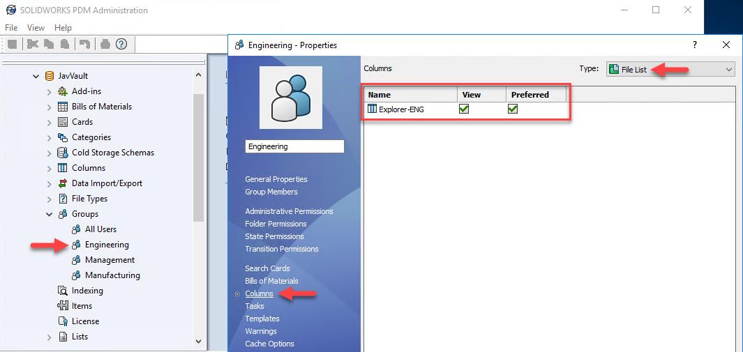 Configuring Column Sets - Via Groups