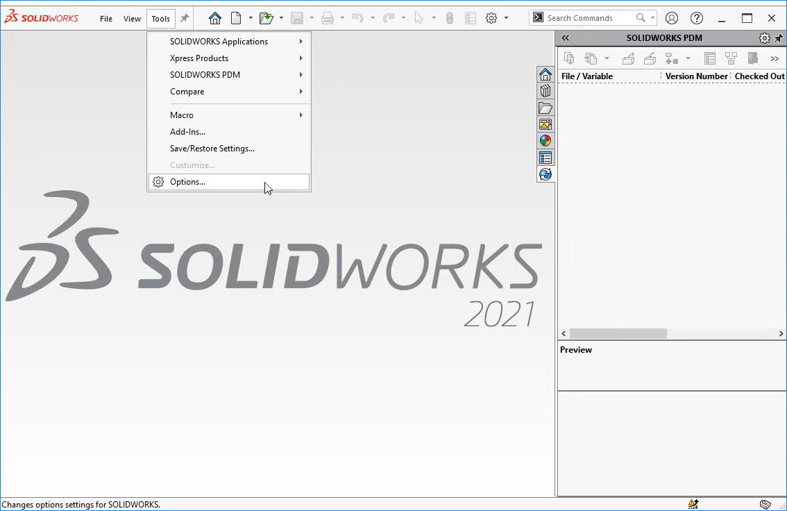 SOLIDWORKS > Tools > Options